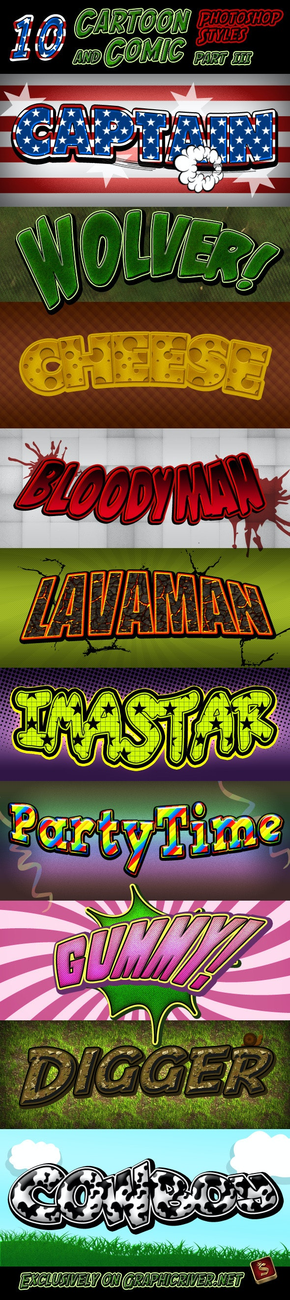 Cartoon and Comic Book Styles - Part 3 - Text Effects Styles