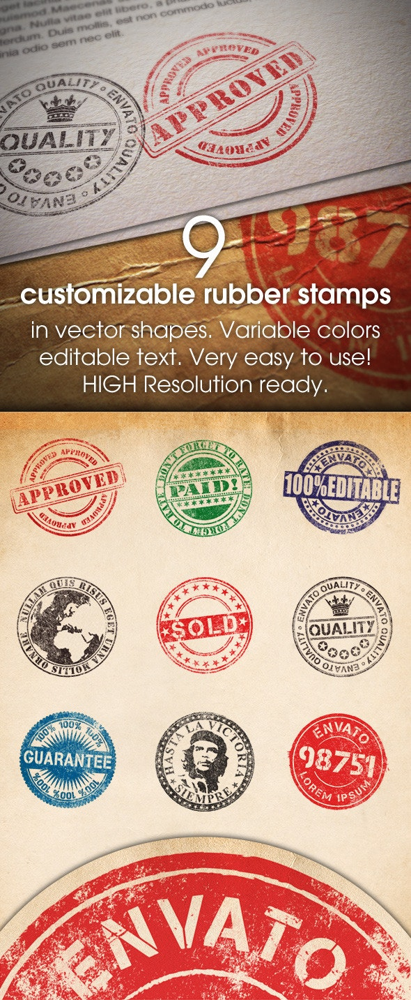 9 Customizable Rubber Stamps - Photoshop Add-ons