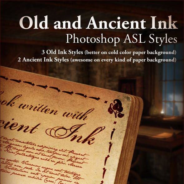 Old Ink and Ancient Ink ASL Photoshop styles