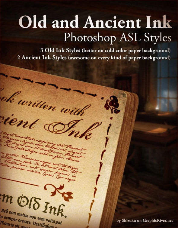 Old Ink and Ancient Ink ASL Photoshop styles - Text Effects Styles
