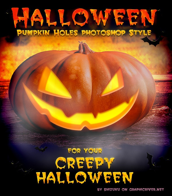 Halloween Pumpkin Candle Holes Style - Text Effects Styles