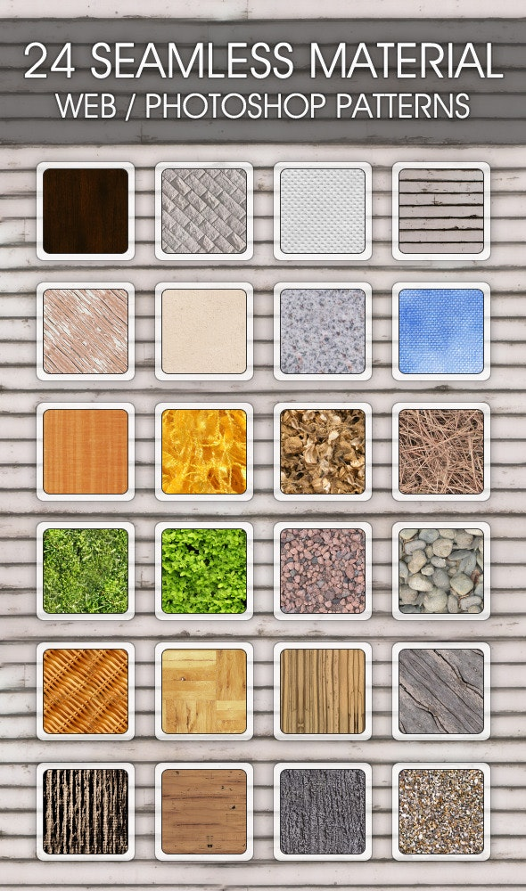 24 Seamless Material Web/Photoshop Patterns - Miscellaneous Textures / Fills / Patterns