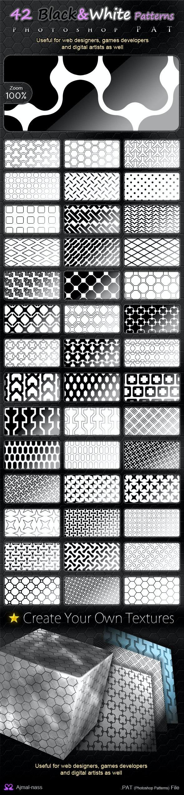 42 Black&White Patterns - Textures / Fills / Patterns Photoshop