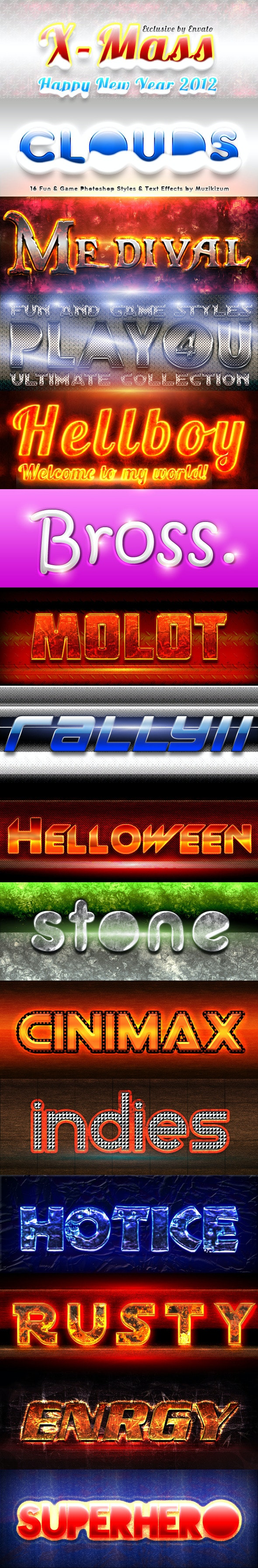 Fun & Game Photoshop Styles Ultimate Collection 4 - Text Effects Styles