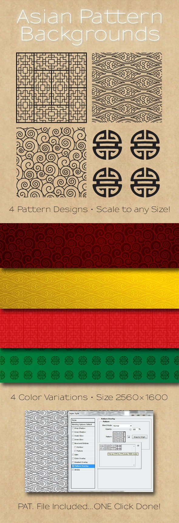 Asian Patterns Background - Artistic Textures / Fills / Patterns