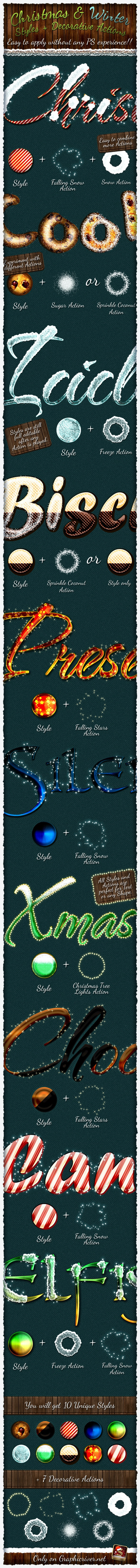 Christmas And Winter Styles + Actions - Text Effects Styles