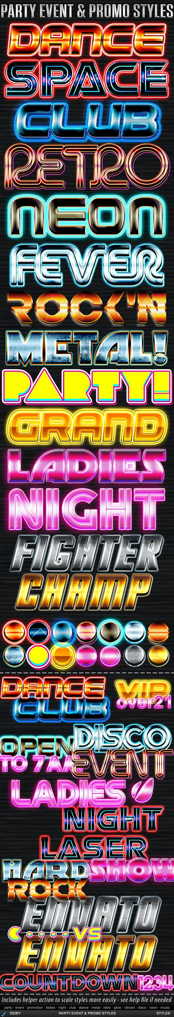 Party Event & Promo Styles - Text Effects Styles