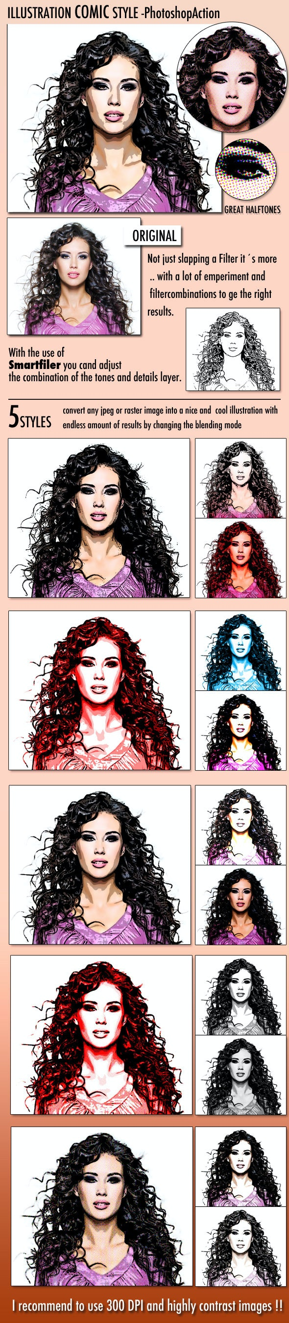 Illustration Comic Style  - Photo Effects Actions