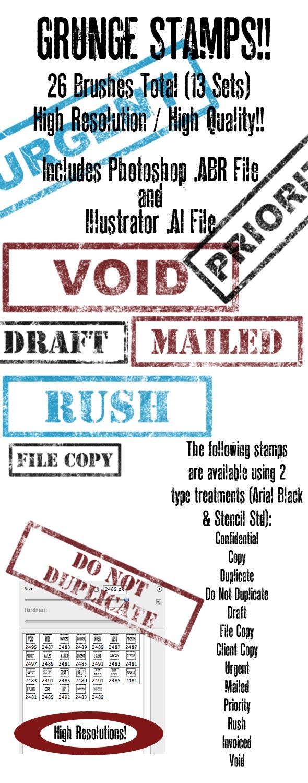 Grunge Brush/Vector Stamp Set Volume 3 - Grunge Brushes