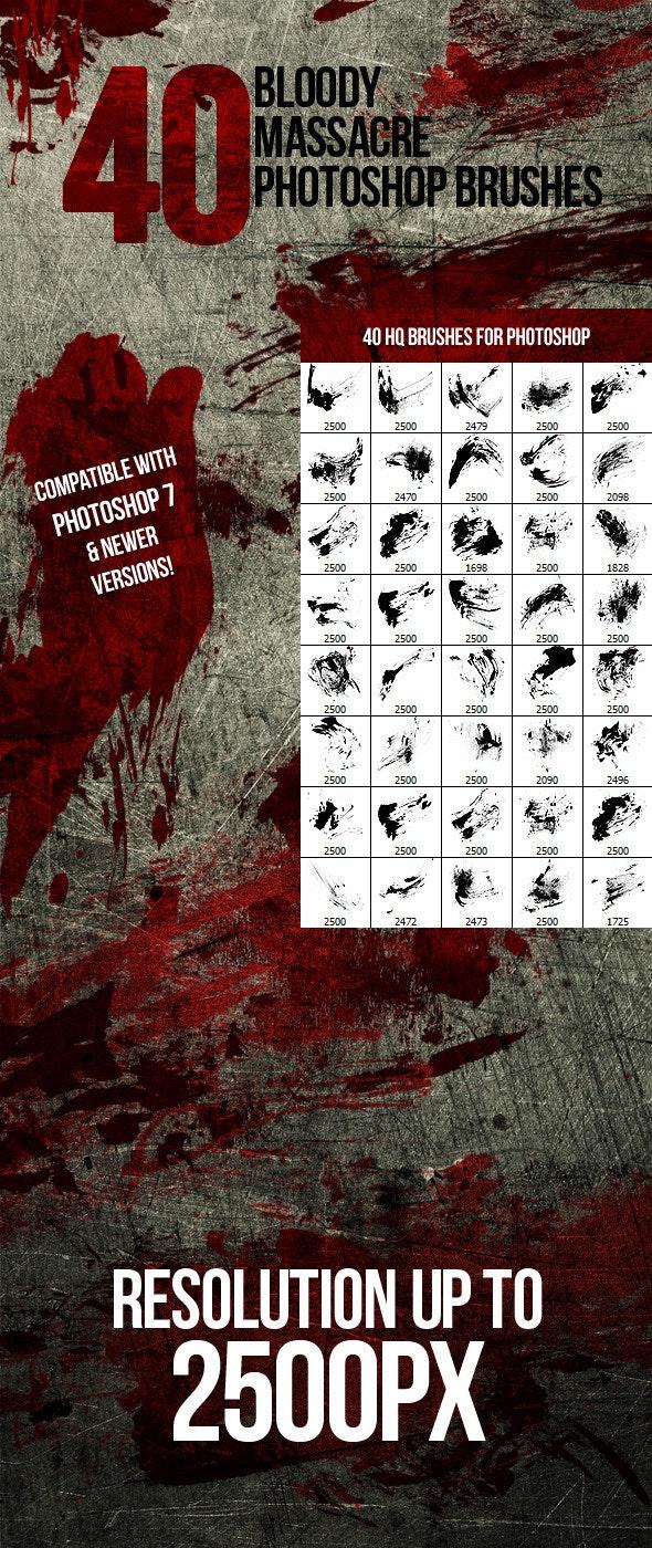 40 Bloody Massacre Photoshop Brushes - Grunge Brushes