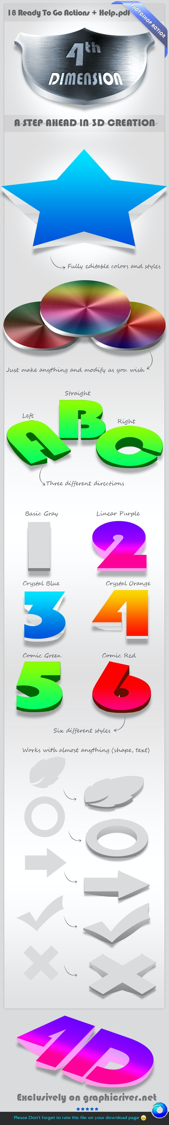 4D Photoshop Action - A Step Ahead In 3D Creation - Utilities Actions