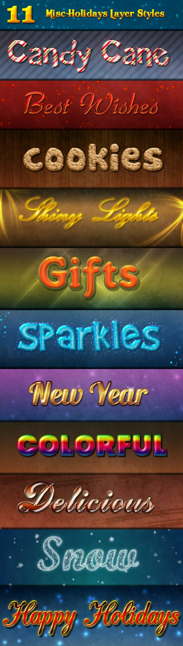 11 Misc Holidays Layer Styles - Text Effects Styles