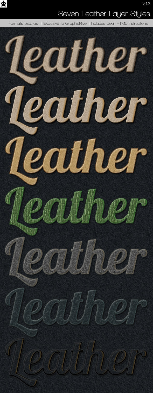 7 Leather Layer Styles - Text Effects Styles