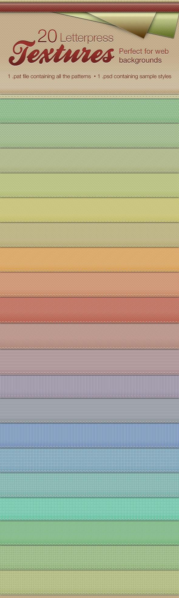Letterpress Texture Patterns - Textures / Fills / Patterns Photoshop