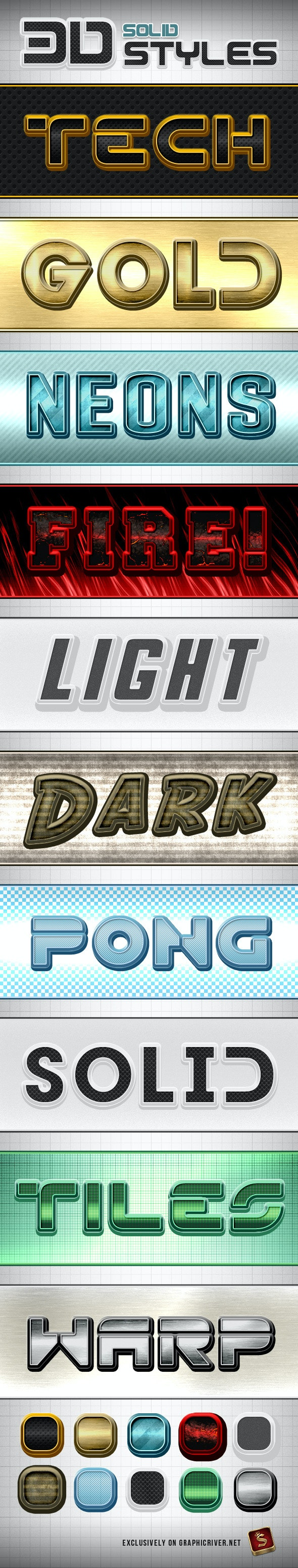 Solid Photoshop Styles - Text Effects Styles