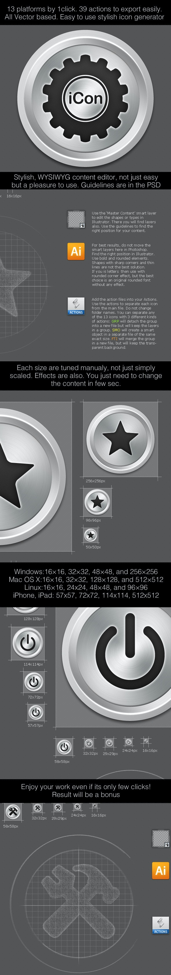 iCon13 Icon Generator for 13 Standard Sizes & OS - Utilities Actions