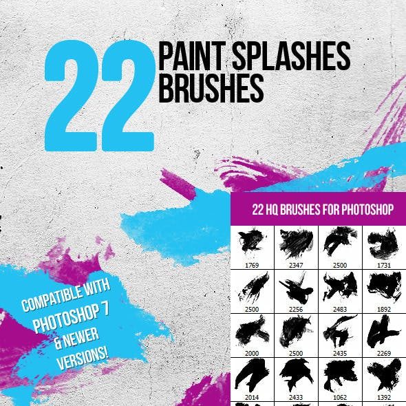 22 Paint Splashes Photoshop Brushes