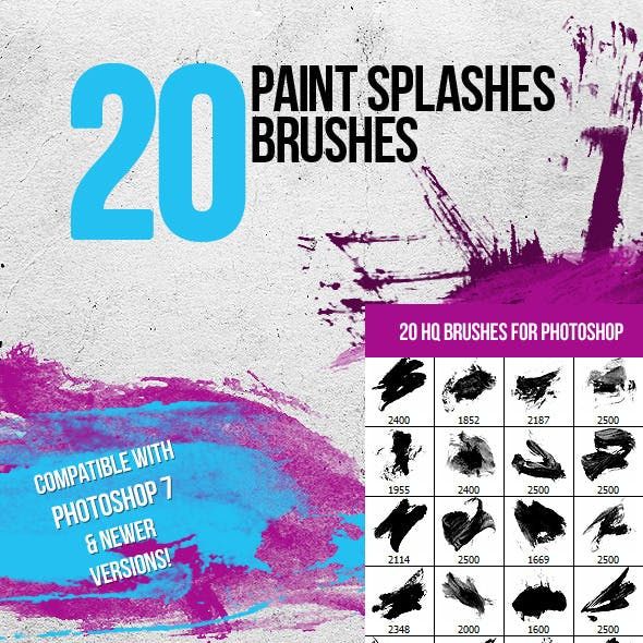 20 Paint Splashes Photoshop Brushes