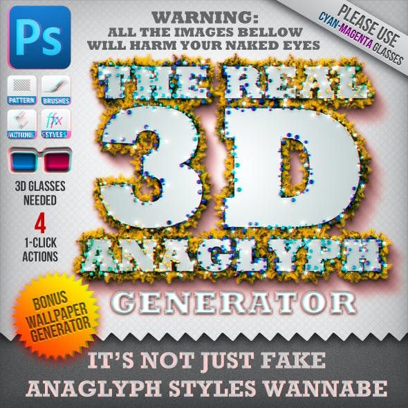 Real 3D Anaglyph: Text, Shape, Wallpaper Generator