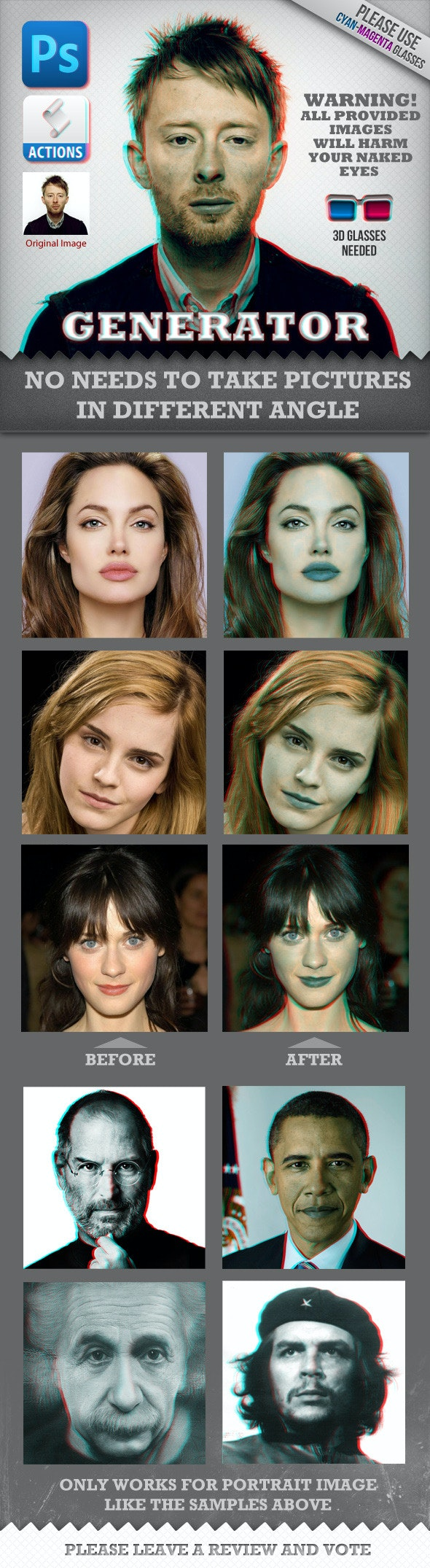 Anaglyph 3D Face Generator (Real Works) - Utilities Actions