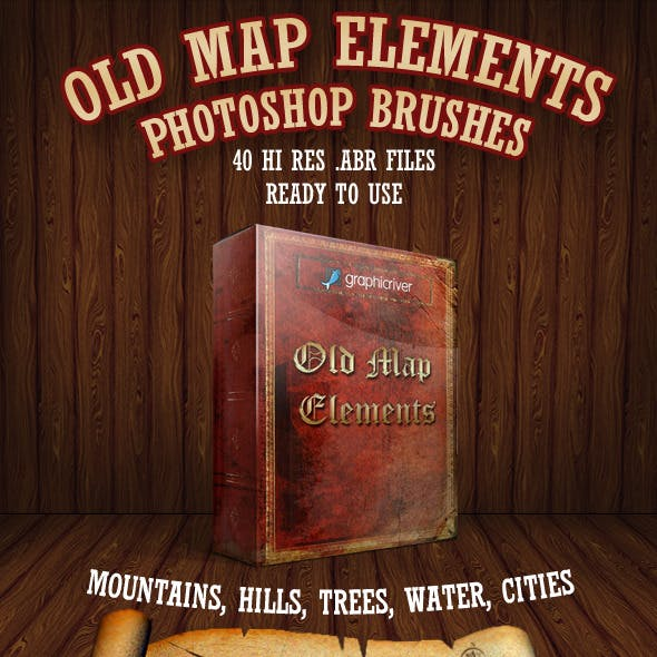 Old Map Elements Brushes