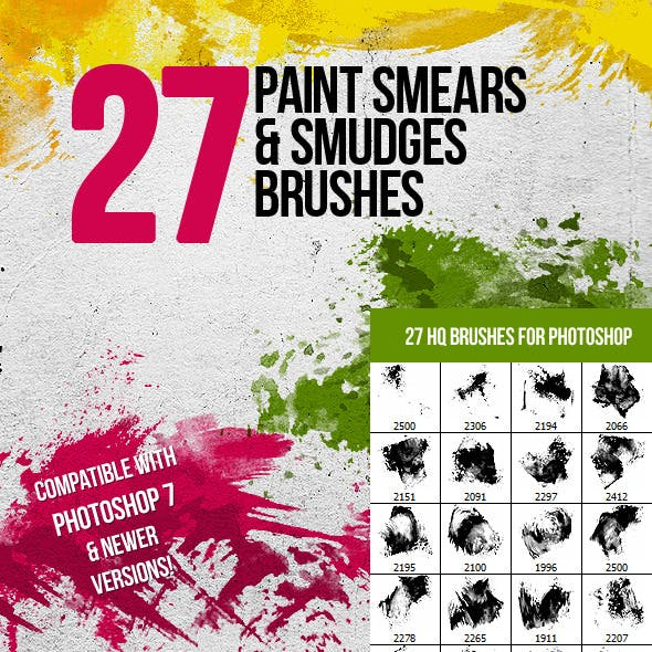 27 Paint Smears & Smudges Photoshop Brushes