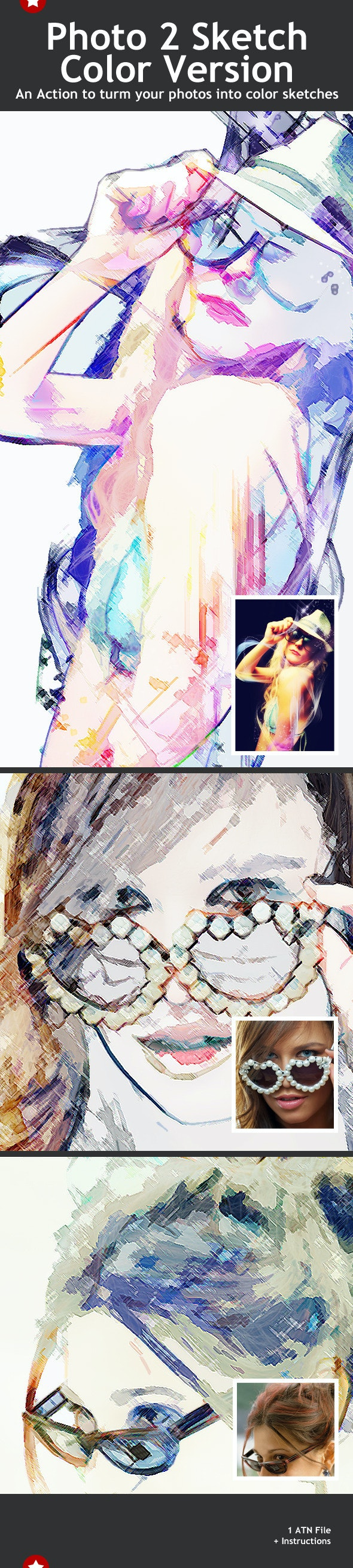 Photo 2 Color Sketch Action - Photo Effects Actions