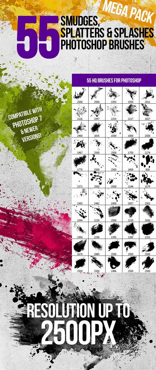 55 Splatters, Smudges & Splashes Photoshop Brushes - Grunge Brushes