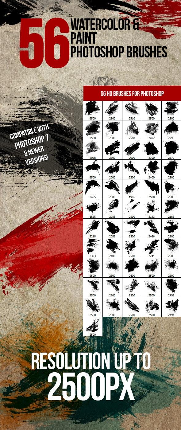 56 Watercolor & Paint Photoshop Brushes - Grunge Brushes