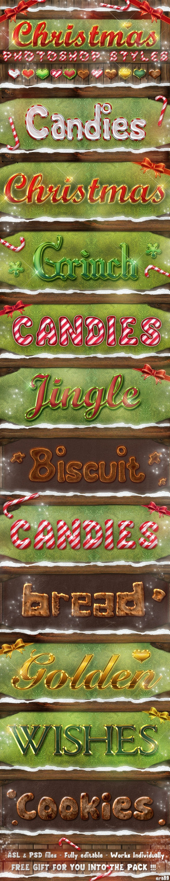 Christmas Photoshop Styles - Text Effects - Text Effects Styles