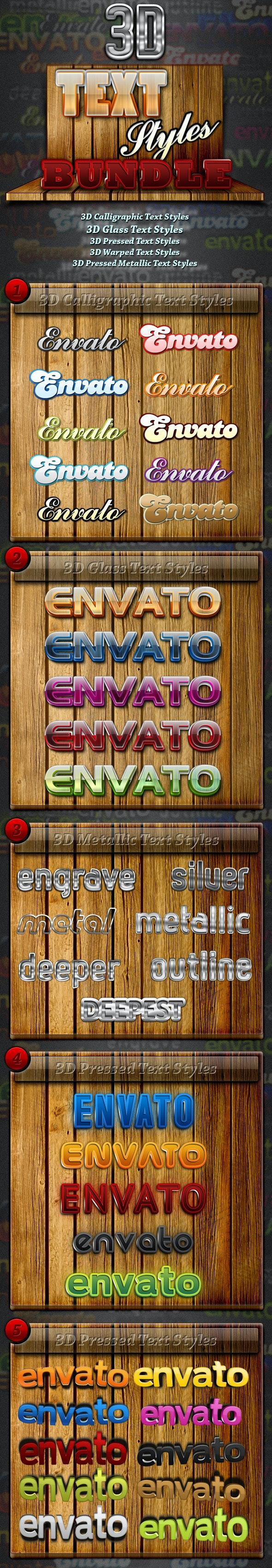 Premium 3D Text Styles Bundle - Text Effects Styles
