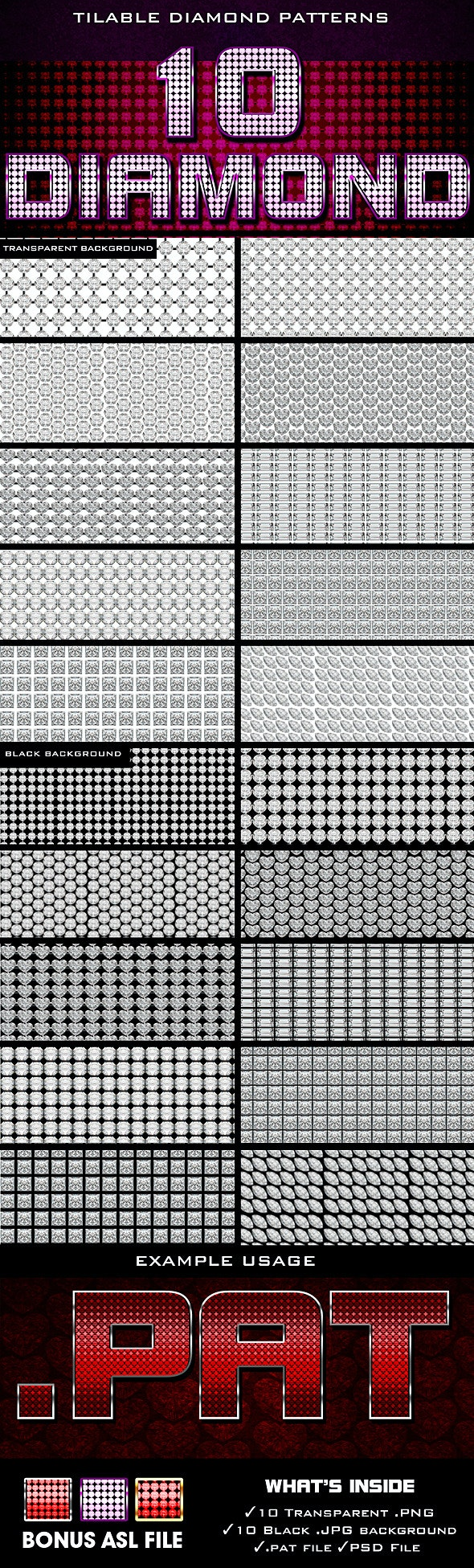 Diamond Patterns - Textures / Fills / Patterns Photoshop