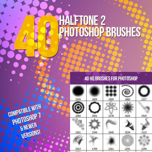 40 Halftone II Photoshop Brushes