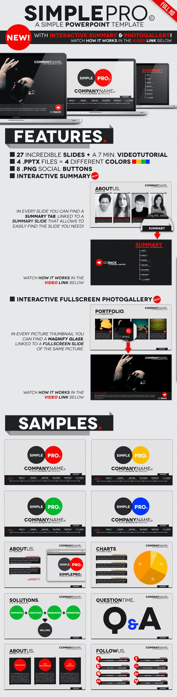 Simple Pro - PowerPoint Interactive Template by opendept