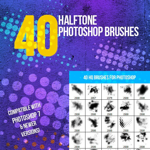 40 Halftone Photoshop Brushes