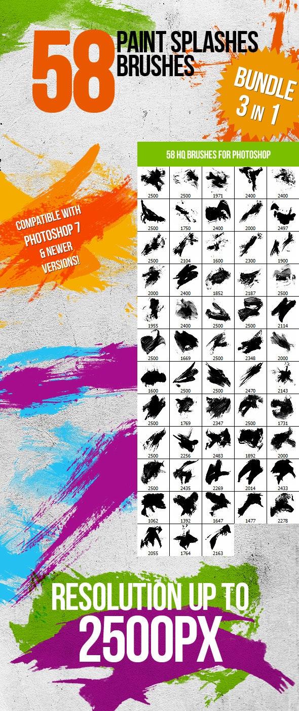 Bundle (3in1) 58 Paint Splashes Photoshop Brushes - Brushes Photoshop