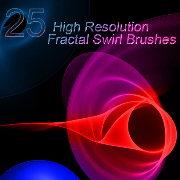 25 High-Res Fractal Swirl Photoshop Brushes
