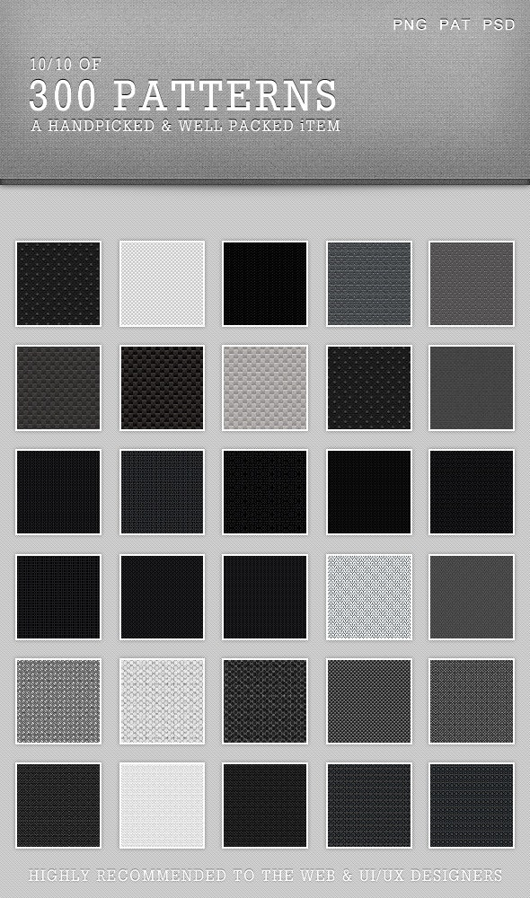 30Patterns For Web & Interfaces (PSD+PNG+.PAT) #10 - Miscellaneous Brushes