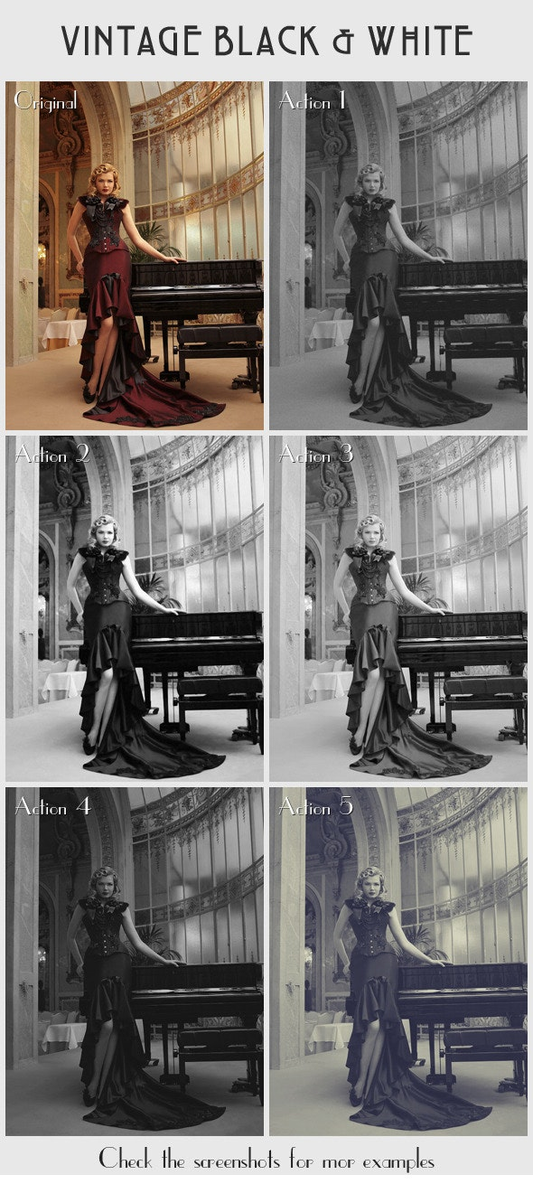 5 Vintage Black & White Actions - Photo Effects Actions