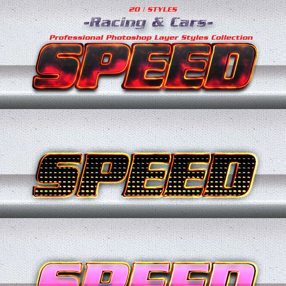 20 Game Photoshop Layer Styles | Racing & Cars