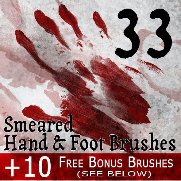 33 Smeared Hand & Foot PS Brushes + 10 Bonus Brush