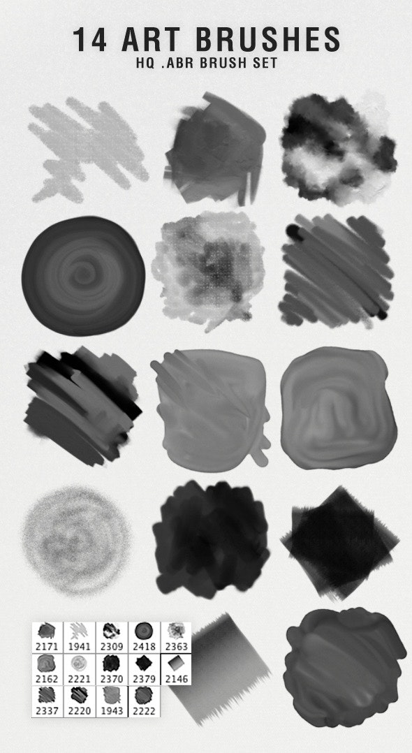 14 Art Brushes - Photoshop Add-ons