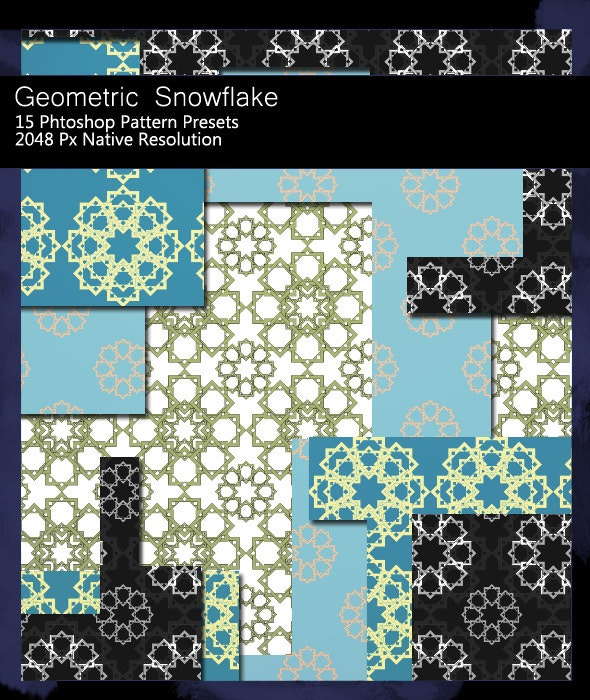 Geometric Snowflake Patterns - Abstract Textures / Fills / Patterns