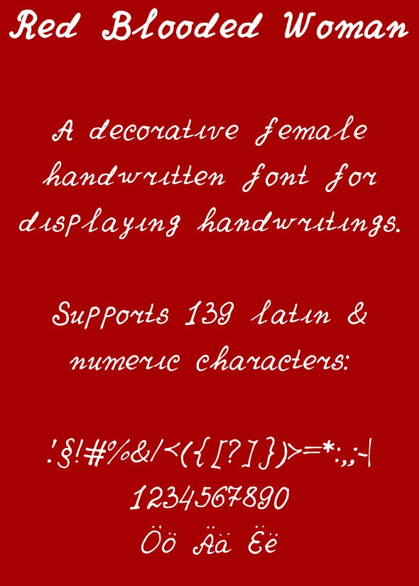 Red Blooded Woman - Hand-writing Script