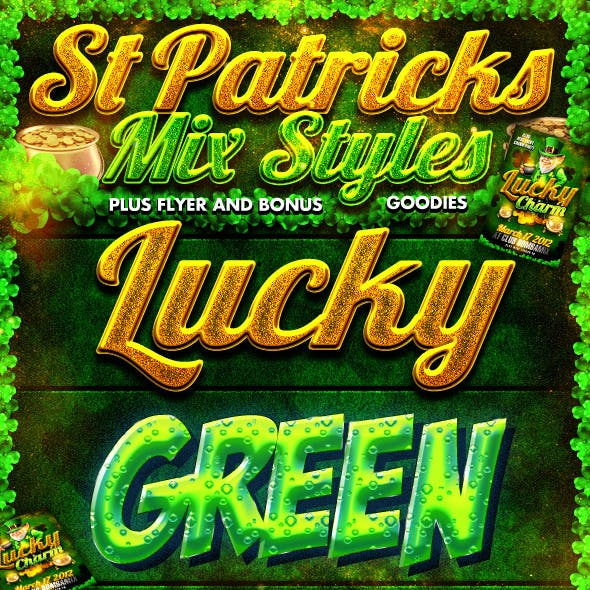St Patricks Day Photoshop Styles and Web Flyer