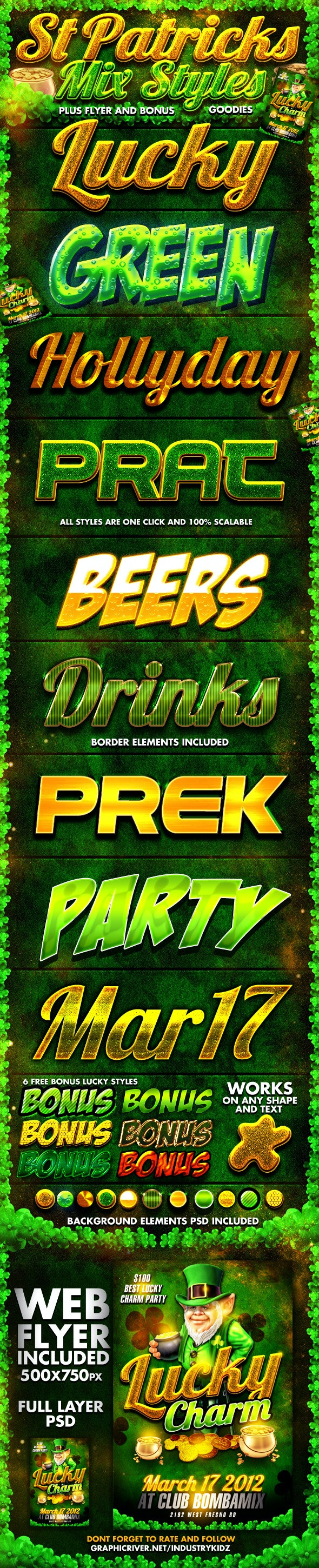 St Patricks Day Photoshop Styles and Web Flyer - Text Effects Styles