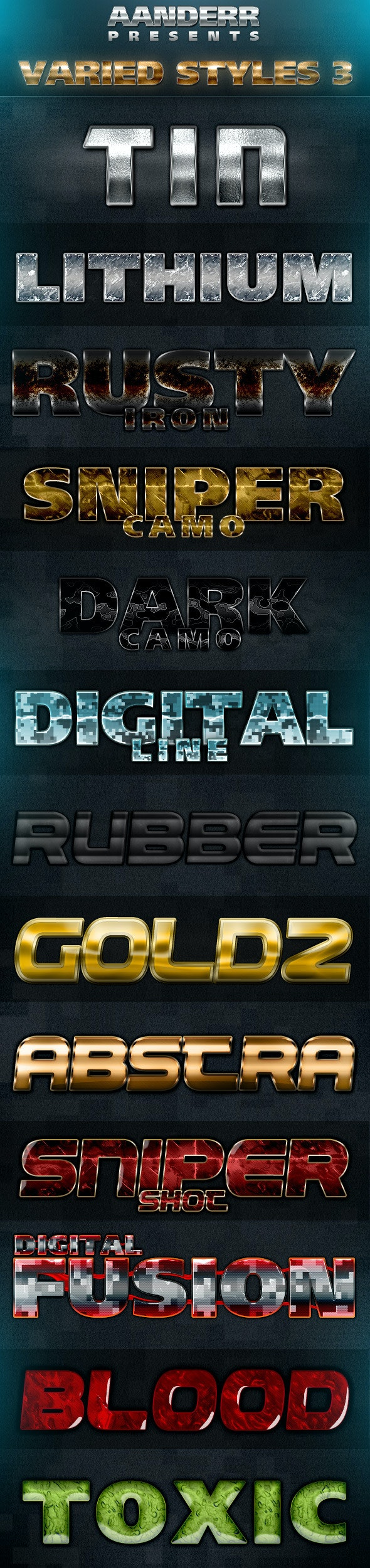 Varied Styles 3 - Text Effects Styles
