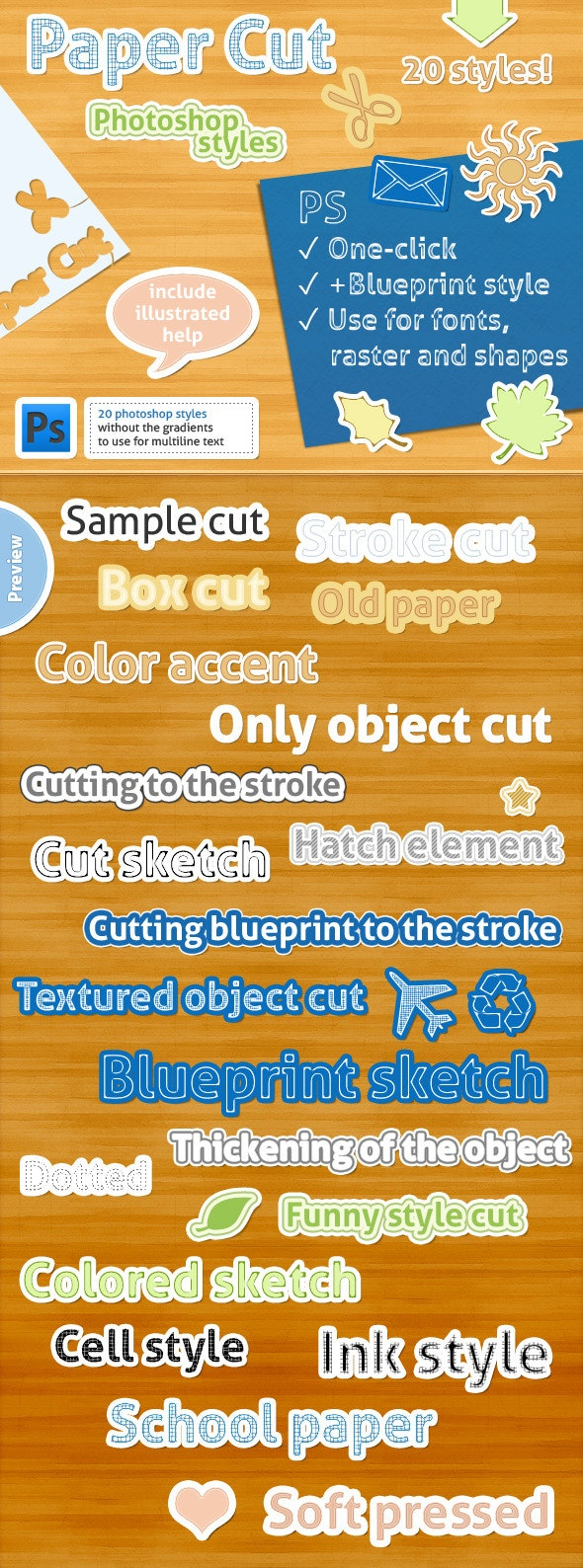 20 Photoshop Styles - Paper Cut - Text Effects Styles