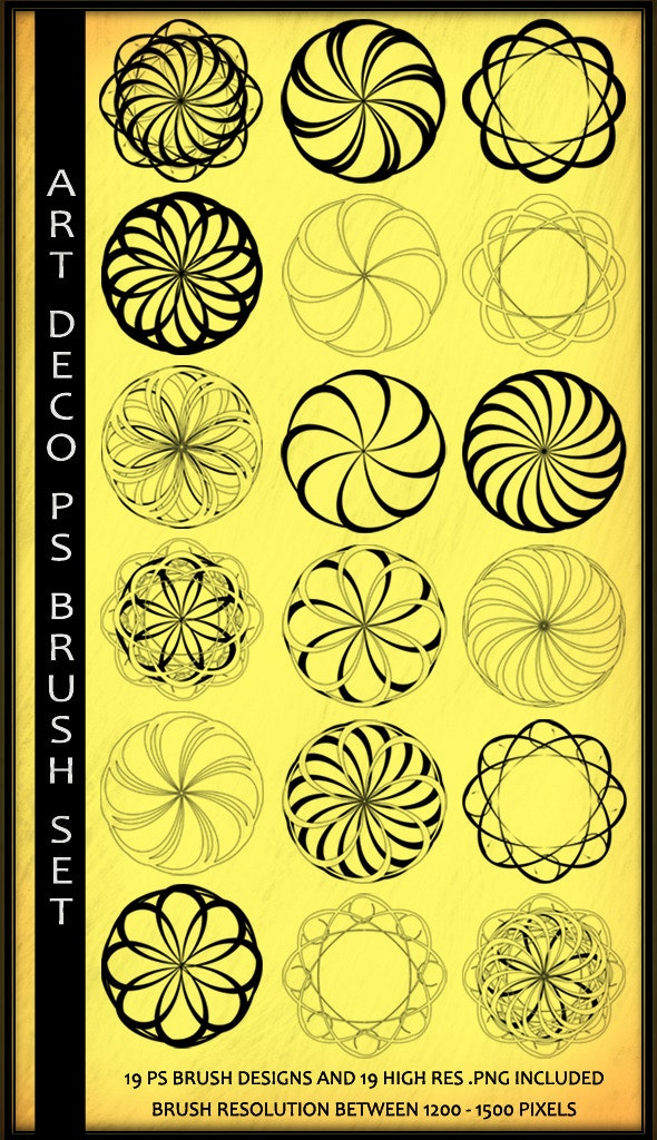 Art Deco Elements Photoshop Brush Set - Flourishes Brushes