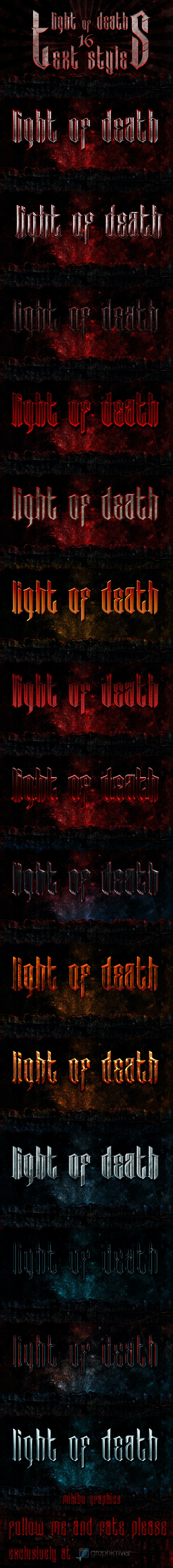 Light Of Death - 16 Photoshop Text Styles - Photoshop Add-ons